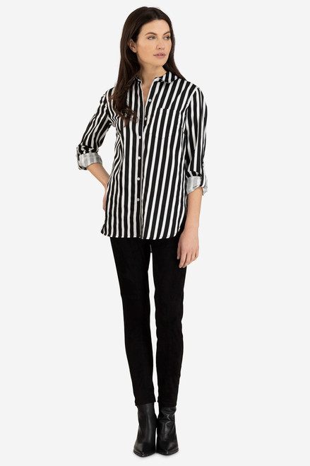 Black and white stripe tunic collared button up blouse