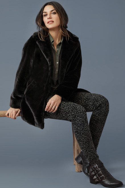 Black faux rabbit fur coat, women's faux fur coat