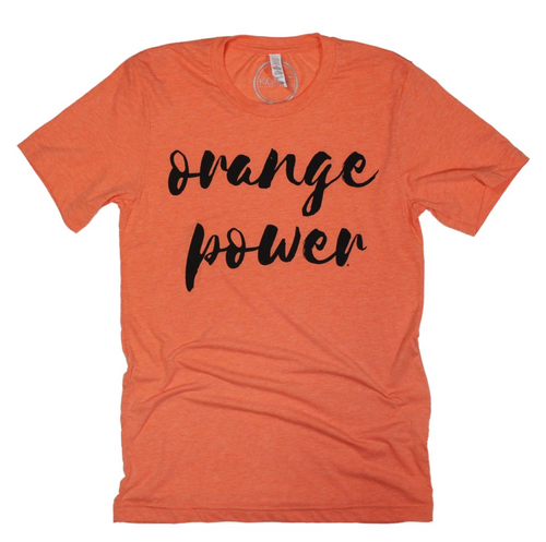 orange power tee, Oklahoma state university game day apparel