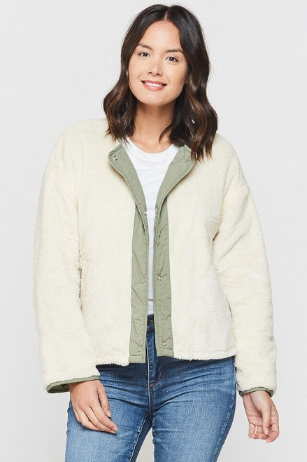 Olive quilted jacket with sherpa lining, reversible jacket