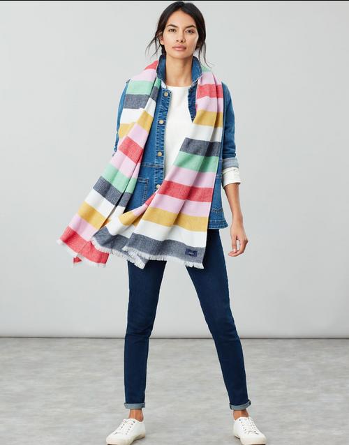 Rainbow stripe oversized scarf