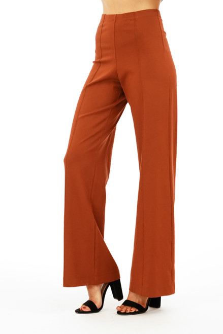 rust wide leg flare pant, work pant, cute flare pant, cute work clothes