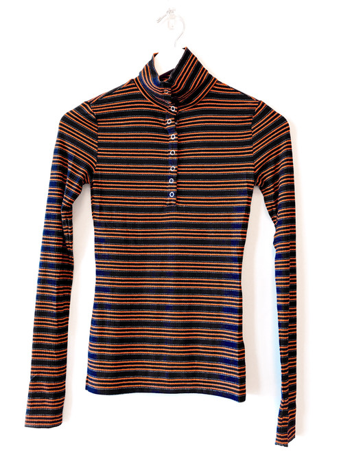 Women's navy and orange stripe stretch top