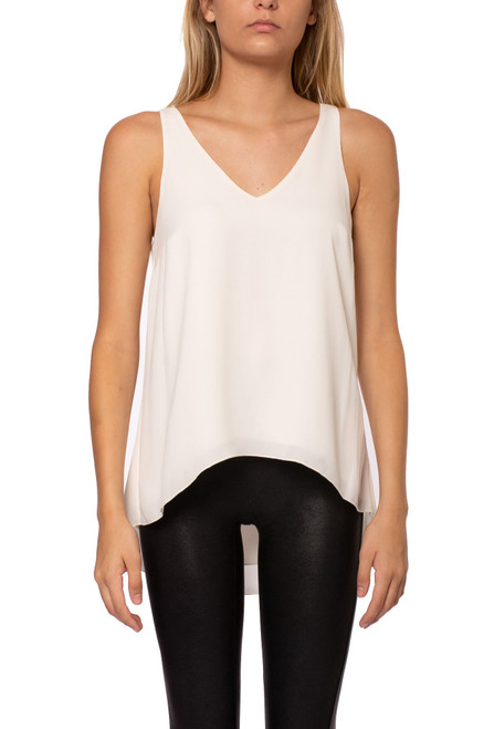 Women's v neck lined ivory tank top
