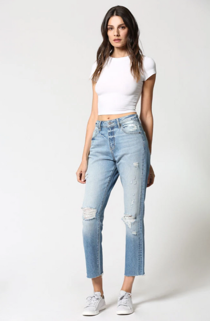 High rise destroyed straight leg cropped jean, cute boyfriend jean