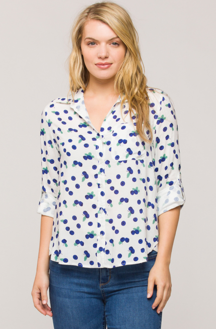 Blueberry blouse with front pocket