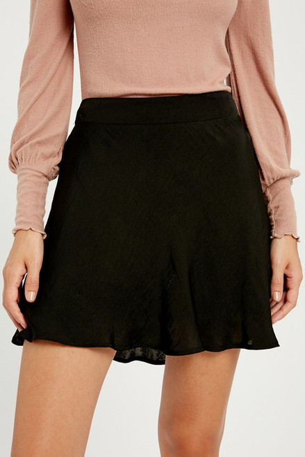 Cute black mini skirt, satin mini skirt