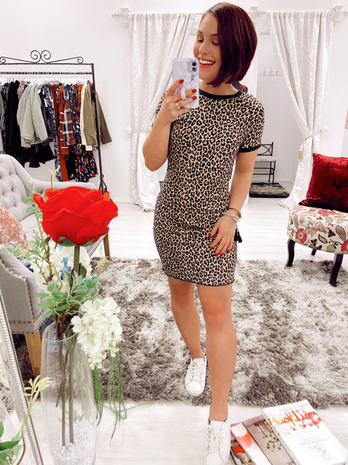 Leopard ribbed t-shirt dress, cute t-shirt dress, casual dress