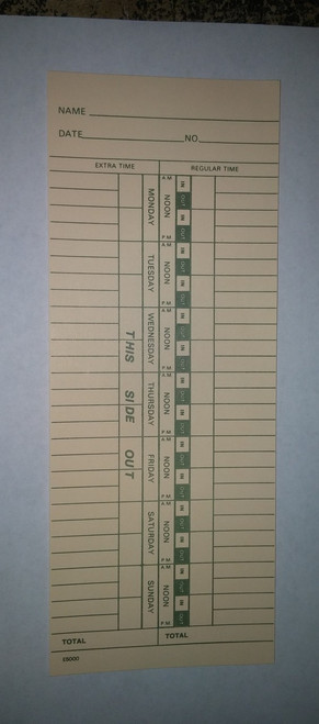 Weekly Time Cards E5000 Front