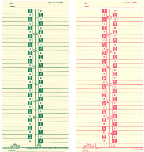 Form 422 Semi Monthly Time Cards