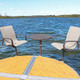 ShoreMaster Premium Dock Furniture Gull Fabric on Chair with Hickory Finish