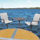 ShoreMaster Premium Dock Furniture Aluminum Fabric on Chair with Hickory Finish