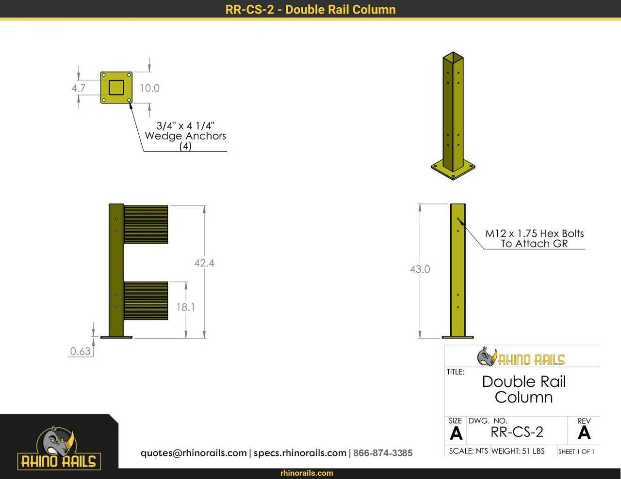 """43"""" Guardrail Column with Standard Baseplate"""