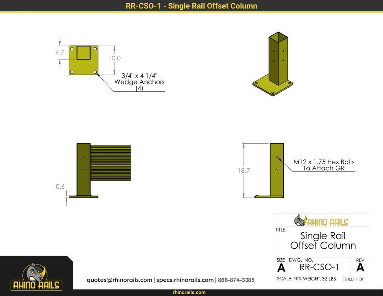 """18.5"""" Guardrail Column with Offset Baseplate"""