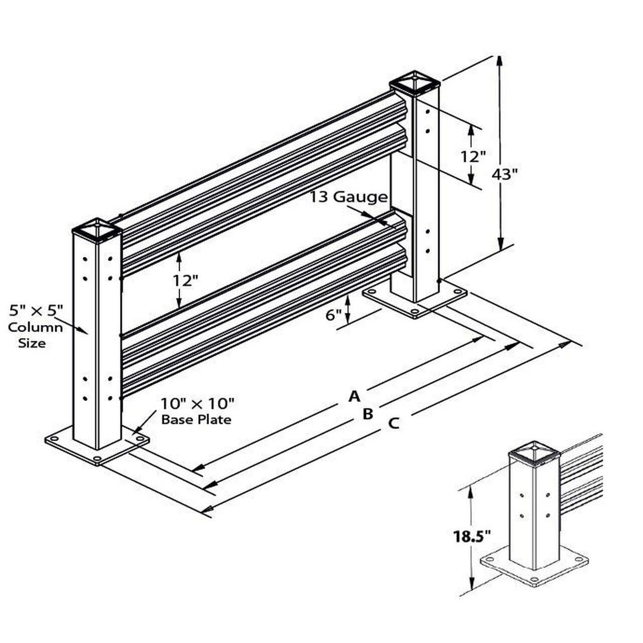 Rhino Rails Double High Heavy Duty Guardrail Starter Kit - 4ft - 10ft Options