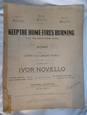 "Vintage Sheet Music ""Keep the Home Fires Burning"""