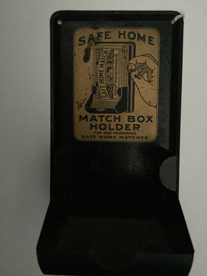 """""""SAFE HOME Matchbox Holder for non- poisonous SAFE HOME MATCHES.""""  from view"""