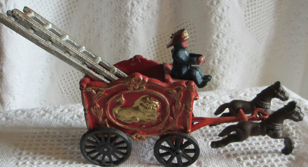 Cast Iron Fire Engine with Horses, Ladders and Its Fireman