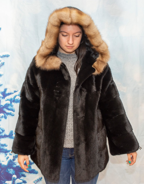 Mink bomber jacket with hood.