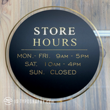 Custom Matte Black with Gold store hours decal