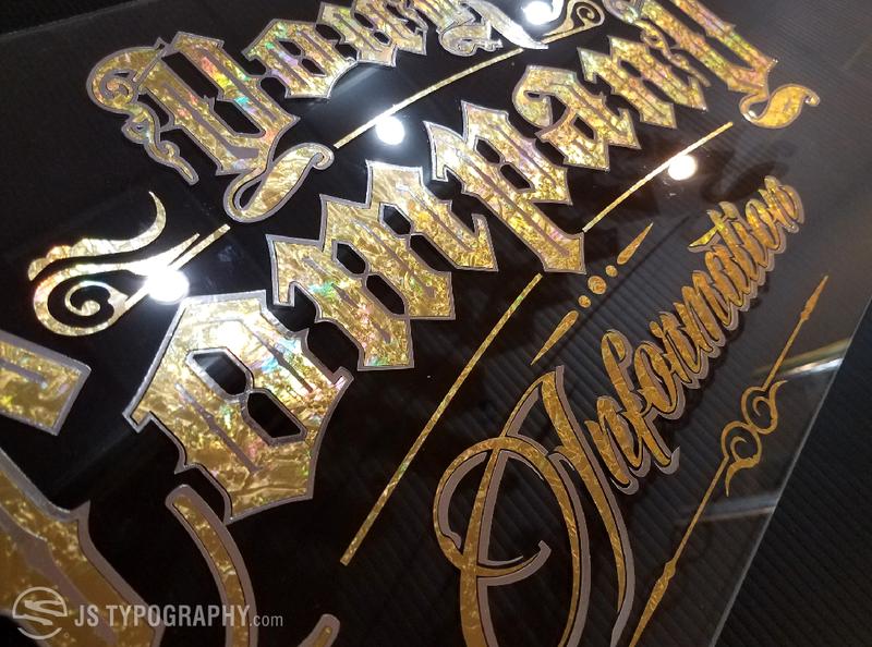 Custom gold leaf lettering
