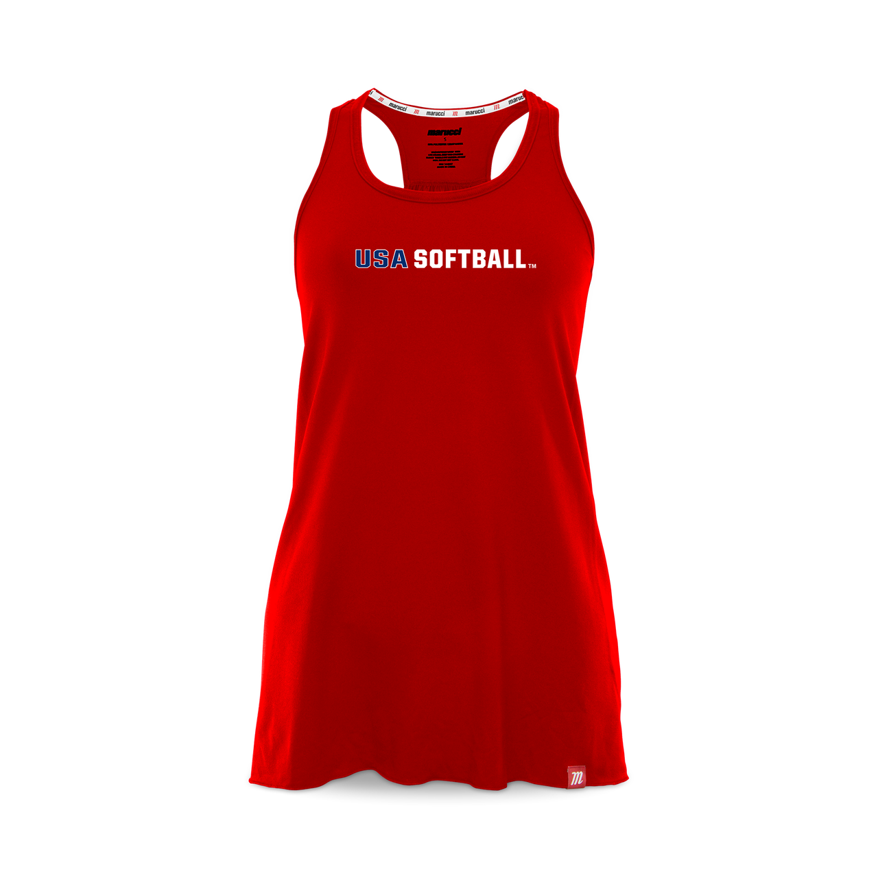 8323cd7cc28 Marucci women's racerback relaxed tank top with USA Softball printed across  the chest.