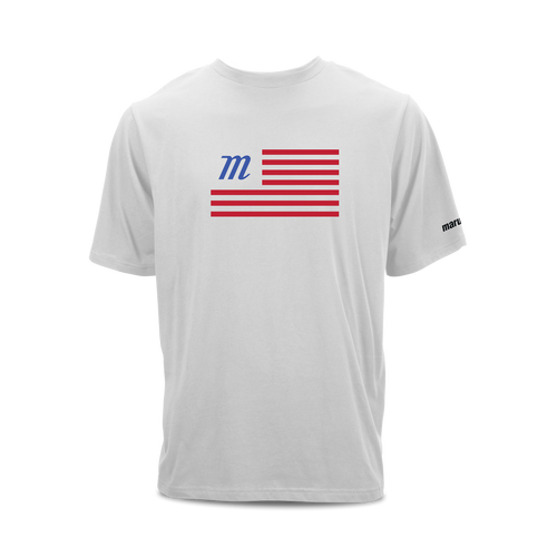 Tri-blend short sleeve graphic t-shirt with Marucci flag print