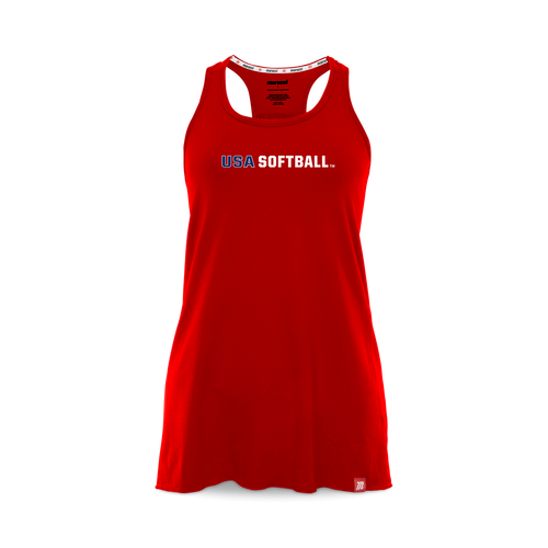 Marucci women's racerback relaxed tank top with USA Softball printed across the chest.