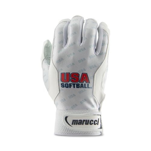 USA Softball White Batting Gloves
