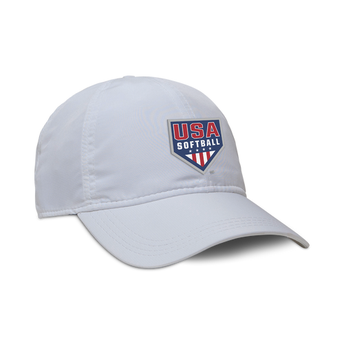 Lightweight, adjustable white hat with low profile crown and USA Softball logo embroidered on the front.