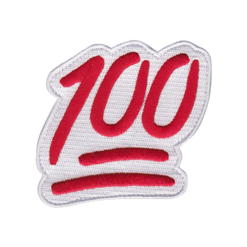The red and white Keep It 100 Patch - Use to personalize your Bat Pack