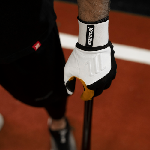 Batting Glove Blacksmith Batting Glove MBGBKSMFW-W//BK-AS White//Black Marucci Sports Adult Small Blacksmith Full Wrap Bg White//Black