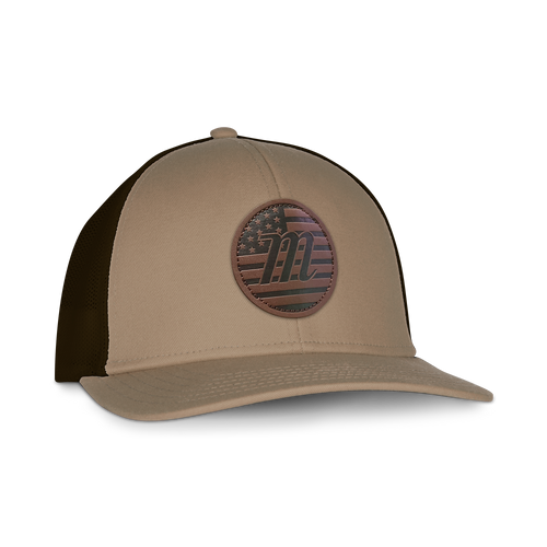 USA Logo Leather Patch Trucker Hat