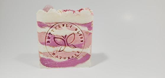 Rose Quartz Crystal Soap- Rose & Geranium