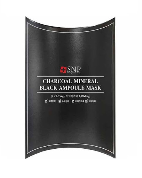 SNP Charcoal Mineral Black Ampoule Mask, 10 sheets