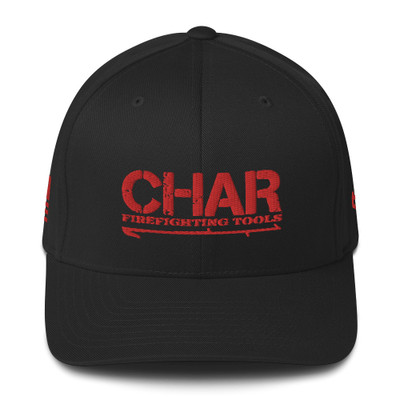 Fitted CHAR Hat Red w/side print