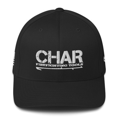 Fitted CHAR Hat White w/side print