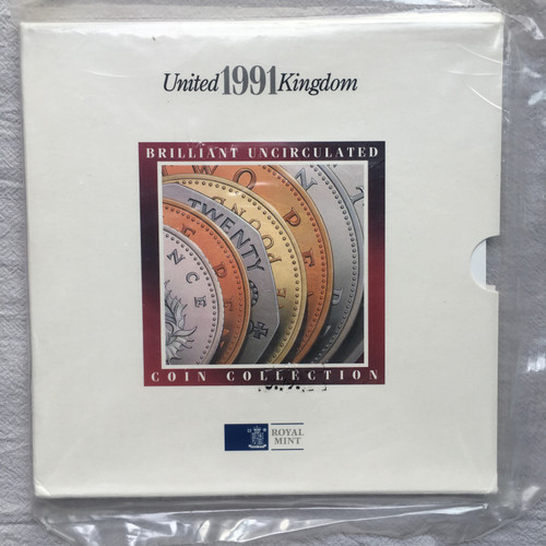UK 1991 ROYAL MINT BRILLIANT UNCIRCULATED 7 COIN SET -  mint sealed pack