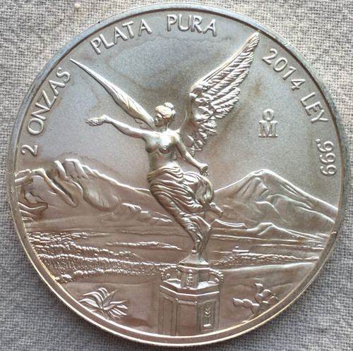 2014 Mexico Libertad 2 Oz Silver BU Coin Low Mintage 9,000 coins