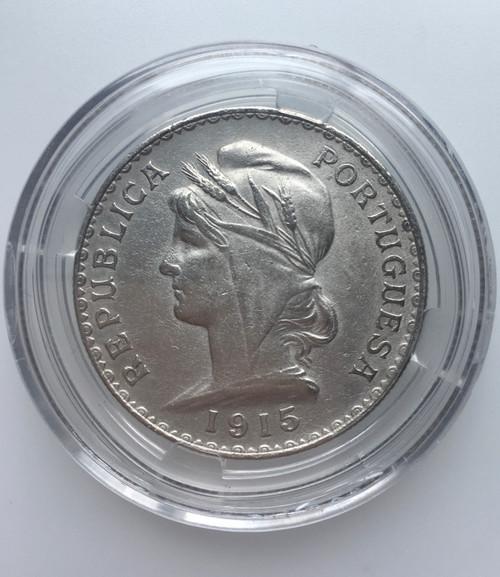 1915 PORTUGAL  Liberty  1 Escudo BIG Genuine Silver  Very Fine