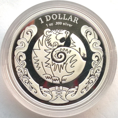 AUSTRALIA 2010 YEAR OF TIGER 1 DOLLAR 1OZ PROOF SILVER COIN
