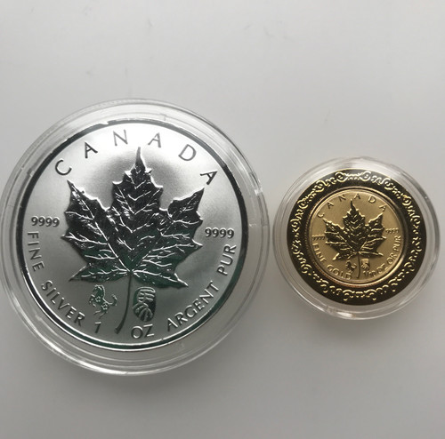 Canada 2014 Maple Silver Double Horse privy coin 1 oz,and Canada 2014 Maple Gold Double Horse Privy coin 1/10 oz