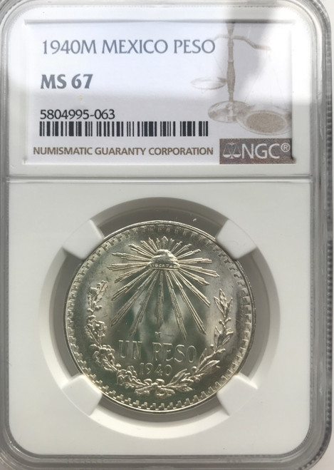 1940 Mexico 1 peso Silver NGC MS67  High Score