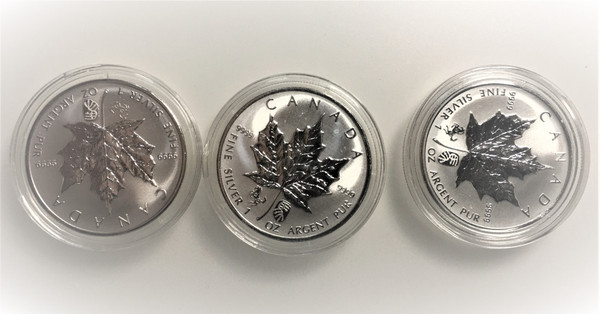 Rare three coins of  Canada 2014 Maple leaf 1oz silver  Chinese Lunar Double Horse Privy