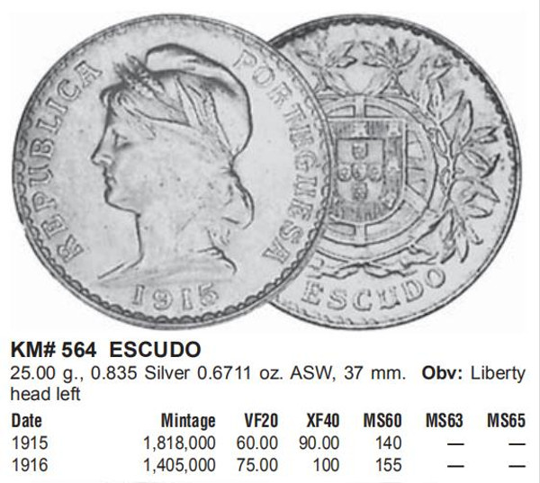 1915 PORTUGAL  Liberty  1 Escudo BIG Genuine Silver  Very Fine