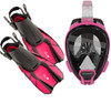 Ocean Reef Aria QR+, Duo Travel Ready Mask/Fins Set Diving, Snorkeling Pink
