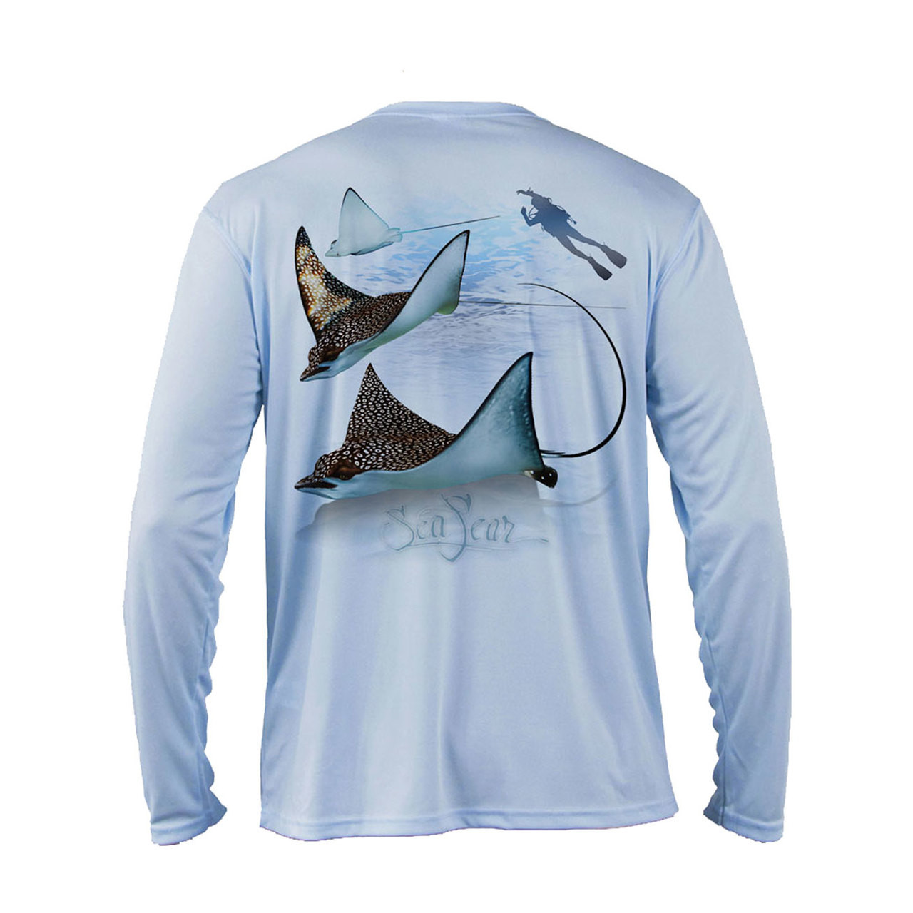 Sea Fear Men's 50+ UPF Long Sleeve Rash Guard Scuba Diving, Snorkeling, Eagle Ray, Arctic Blue