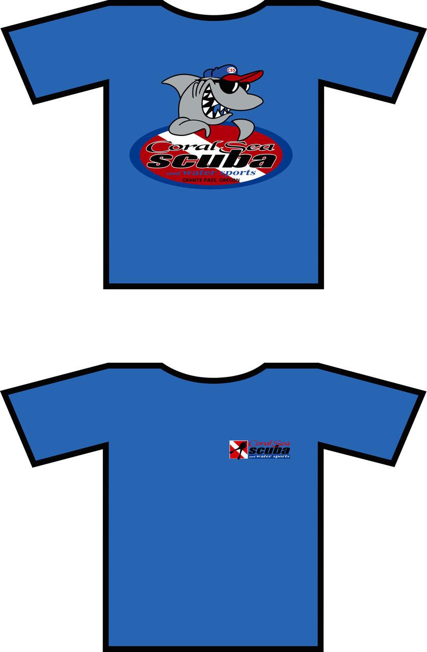 Coral Sea Scuba Shark Logo Scuba Diving T-shirt