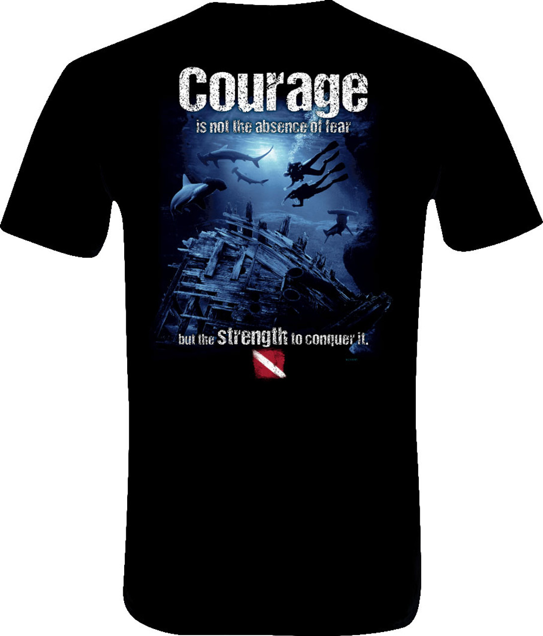 Amphibious Outfitters Scuba Diving T-Shirt - Courage - Black