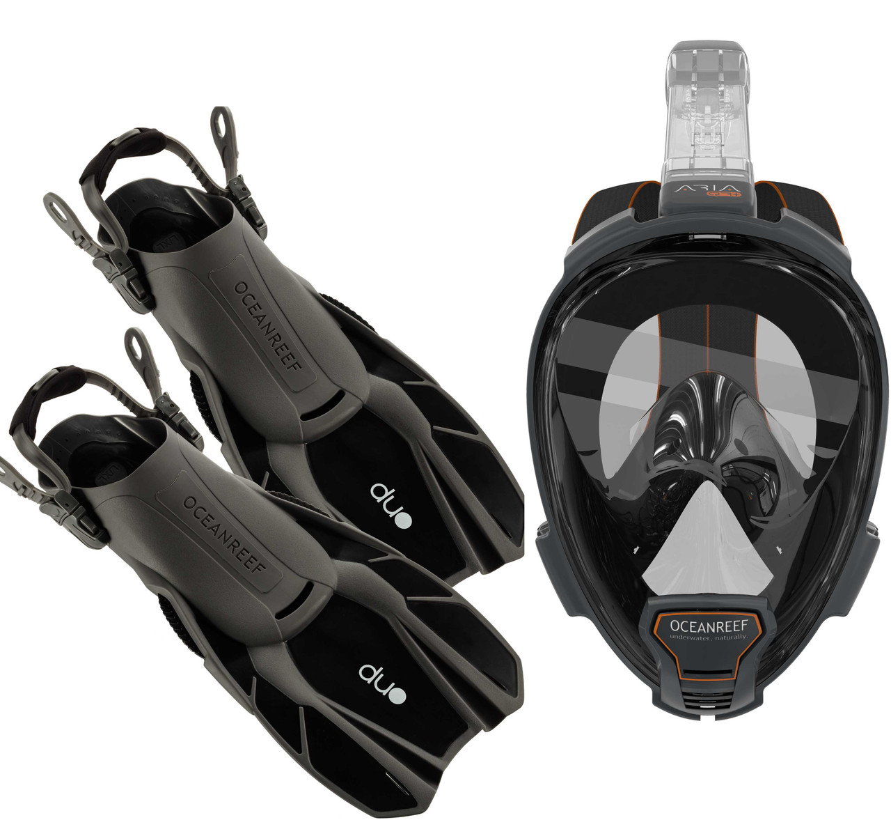Ocean Reef Aria QR+, Duo Travel Ready Mask/Fins Set Diving, Snorkeling Black